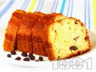 Рецепта Лесен домашен пухкав и сочен маслен кекс с кисело мляко, стафиди и ванилия